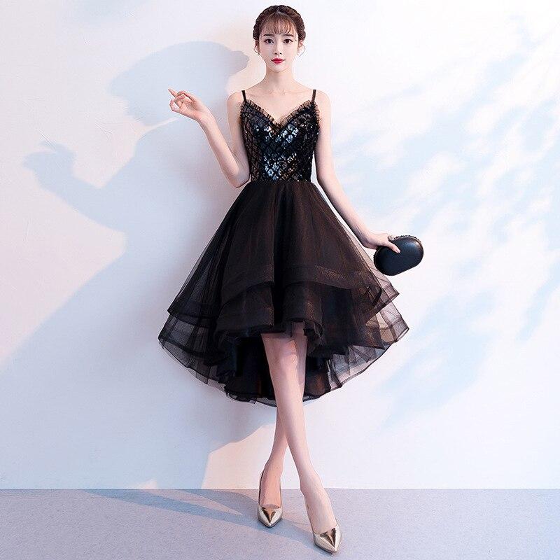 2019 New Fashion Black   Evening     Dress   Sexy Backless V-neck Spaghetti Strap Short Front Long Back Prom   Dress   Custom Made