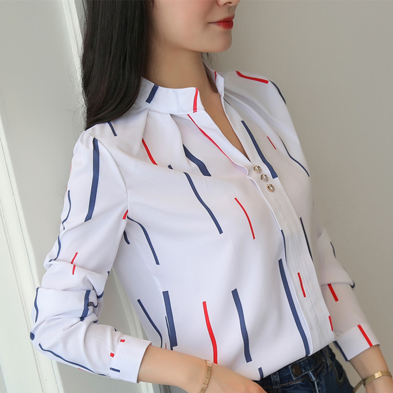 Korean Women Shirts Woman Long Sleeve V-neck Blouse Shirt Office Lady Striped White Shirt Plus Size Blusas Mujer De Moda Blouses
