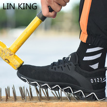 LIN KING New Design Safety Work Shoes Boots For Men Anti-Smashing Steel Toe Men Construction Shoes Plus Size Man Casual Sneakers дутики king boots king boots mp002xw0zwfn