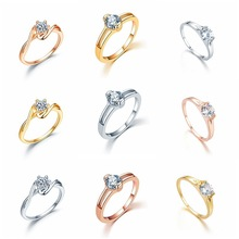 New ring miniature zircon couples simple rose gold silver color