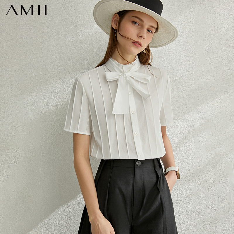 AMII Minimalism Spring Summer Solid Stripe Women Blouse Tops Caual Bow Neck Loose White Female Blouse 12040280