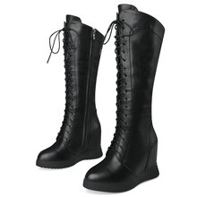 Winter Tall Sneakers Women Cow Leather Wedges High Heel Mid Calf Riding Boots Female Lace Up Round Toe Thigh High Pumps Shoes autumn 2018 girls tall knee high top casual sneakers children fashion lace up mid calf boot trainer shoes toddler little big kid