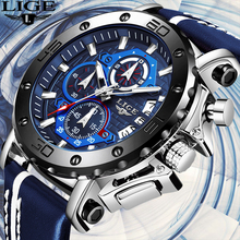LIGE New Mens Watches Top Brand Luxury Big Dial Chronograph Sports Watch Men Wat