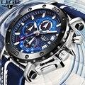 LIGE Новый Для мужчин s часы лучший бренд класса люкс с большим циферблатом, спортивные часы с хронографом Для мужчин Водонепроницаемый, кожан...