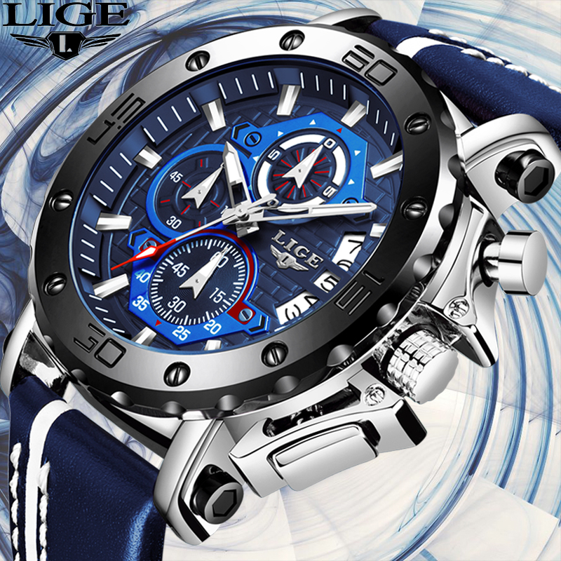 LIGE New Mens Watches Top Brand Luxury Big Dial Chronograph Sports Watch Men Waterproof Leather Quartz Watch Relogio Masculino