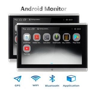 Image 1 - أندرويد OS سيارة راصد مسند الرأس مشغل فيديو USB/SD/FM TFT LCD شاشة رقمية تعمل باللمس زر لعبة التحكم عن بعد سيارة MP5 لاعب
