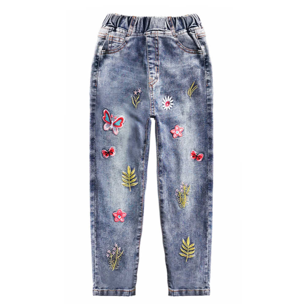 Chumhey 5-14 Girls Jeans Spring Cotton Stretchy Soft Denim Pants Kids Trousers Embroidery Flowers Toldder Clothes Girls Clothing