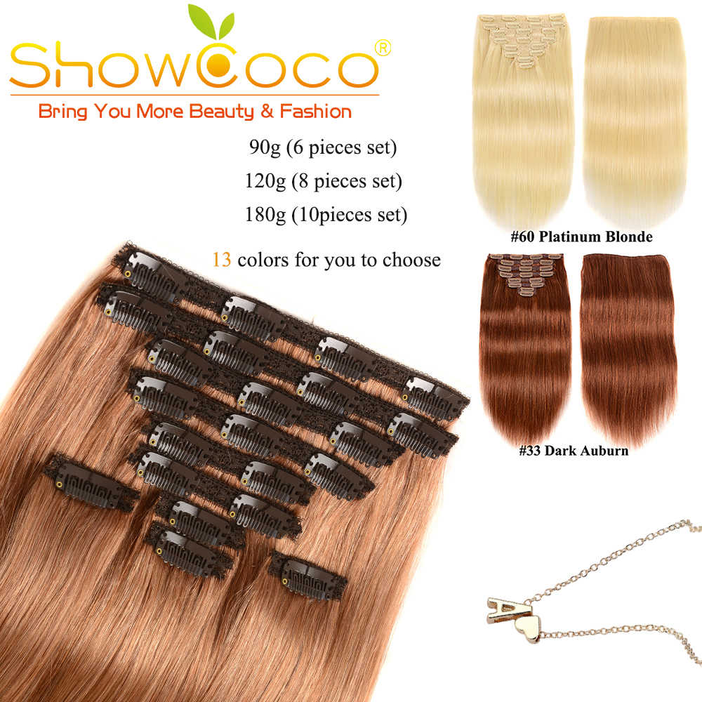 Showcoco Hair Extension Machine Remy Clip In Human Hair Extensions Korean Hair Clips Silky Straight Clip In Hair