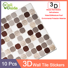 10pcs 3D Wall Sticker Marble mosaic Brick Self-Adhesive Waterproof paper for Kitchen Bathroom Home DIY PU/PET Stickers