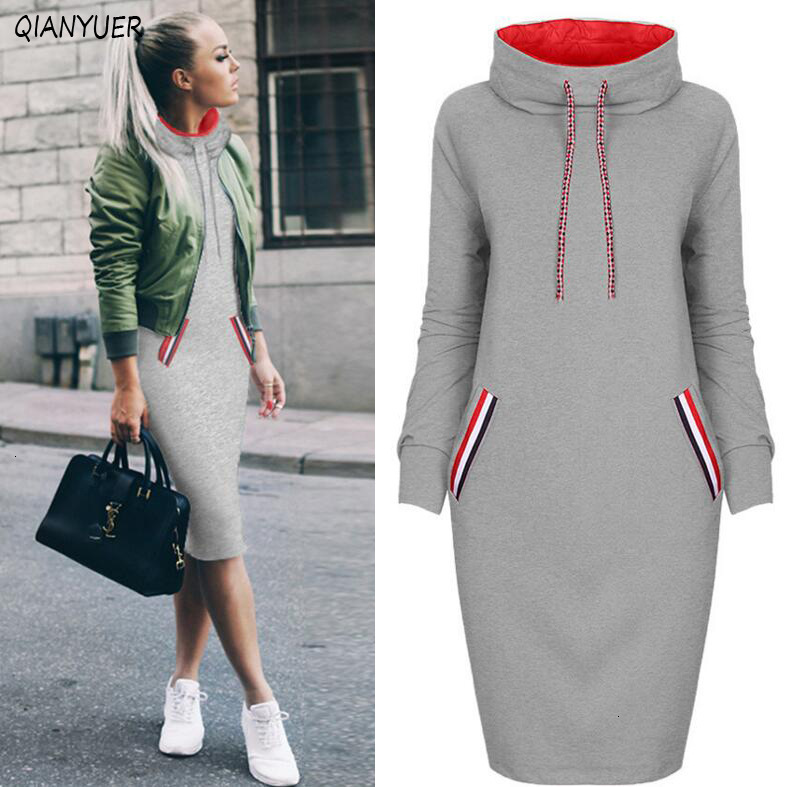 6 Colors Autumn Women Sweater Dress Slim Long Sleeves Turtleneck Drawstring Harajuku Hoodies Moletom Feminino Ez