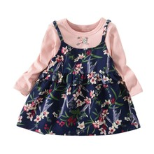 Girls Dress Cute Fashion Flower Infant Fake 2 Piece Long Sleeve Dresses Autumn Spring Kids For Chilren Clothing