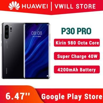"Huawei Original de P30 Pro teléfono móvil 6,47 ""Kirin 980 ocho nucleos Android 9,1 en pantalla huella 40W sobrecargar GPU Turbo 3,0"