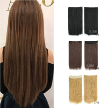 XJBB No Clips In Straight Hair Extensions Invisible Ombre High Tempreture Synthetic Hair Piece