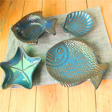 Ocean Wind Ceramic Tableware Creative Plate Childrens Dinner  Kiln Baked Starfish Shell