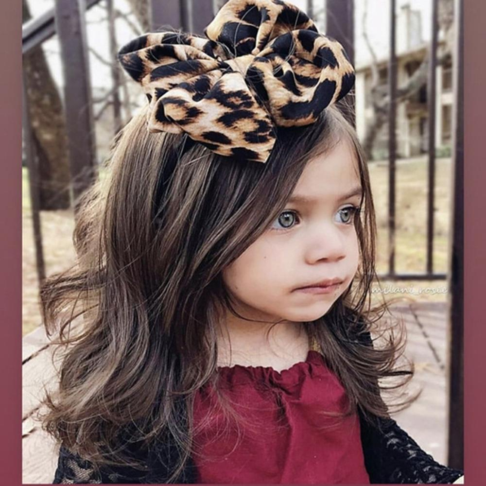 Leopard Big Bow Baby Headbands For Girls Handmade Elastic Soft Knot Bandeau Baby Turban Headband Newborn Infant Hair Accessories
