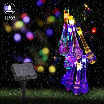 ledniceker multi colored solar led string lights with garden solar panel for garden patio christmas tree parties and all outdoor and indoor activities decoration 4 8 meters long 20 waterproof bulbs Solar String Lights Outdoor Waterproof Fairy Light 5m 20 LED Multi Color Waterdrop Lighting for Christmas Garden Patio Indoor