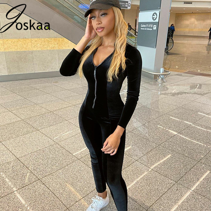 Joskaa autumn New velevt solid sexy Slim Long Sleeves high neck stand collar Zipper bodycon One-Piece Trousers women's jumpsuit