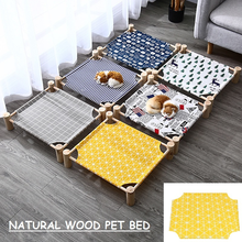 Dog Bed Removable Washable Cat Litter Solid Wood Pet Dog Bed Camp Bed Teddy Kennel Off The Ground Summer Breathable Cat Bed Mats