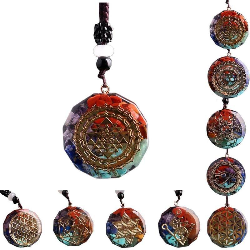 1PCS Orgonite Pendant Sri Yantra Necklace Pendant Sacred Geometry Chakra Energy Necklace Meditation Jewelry for Women