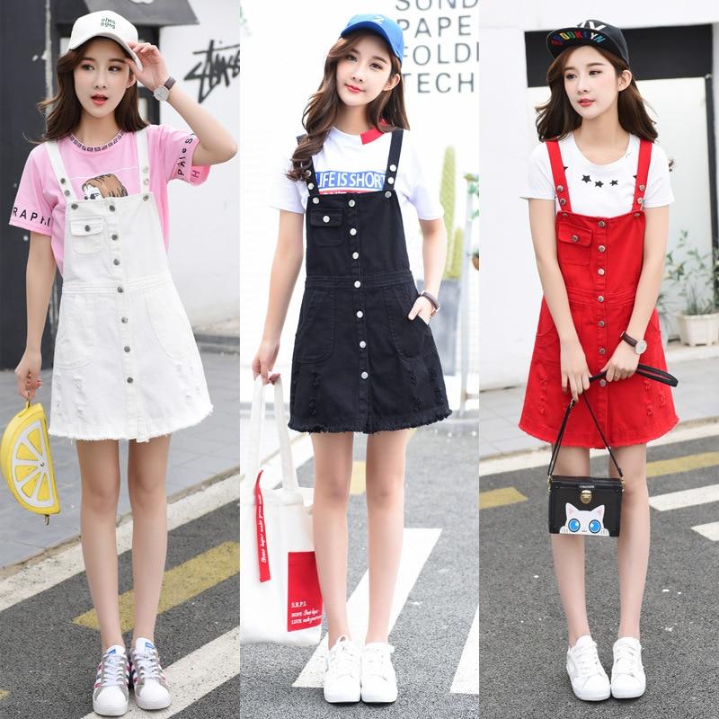 2019 New Style Photo Shoot New Style College Style Suspender Skirt Denim Skirt