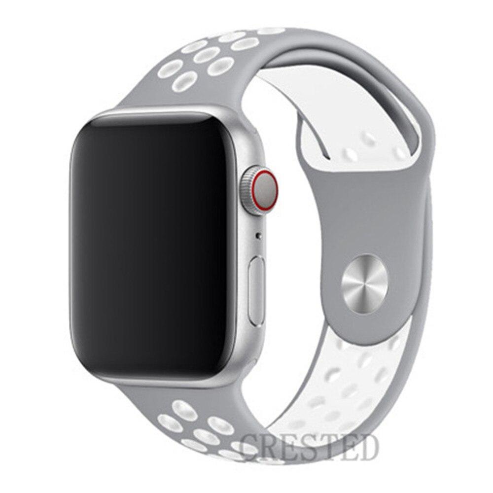 Спортивный ремешок для apple watch band 44 мм/40 мм apple watch 5 4 3 band iwatch band 5 42 мм/38 мм correa браслет ремень аксессуары для часов - Цвет ремешка: silver white 3