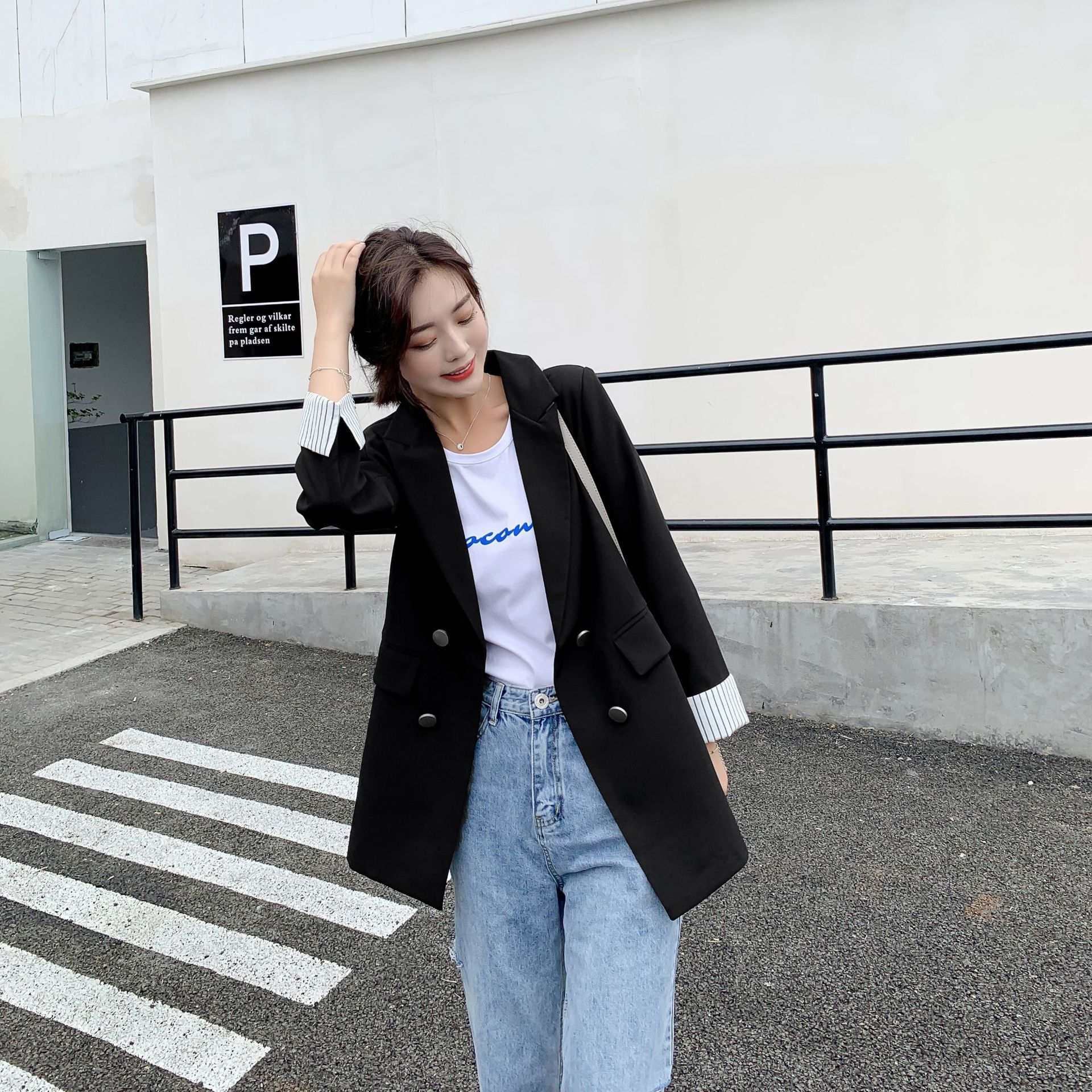 Elegant lady blazer 2019 autumn striped long sleeve jacket female Business double breasted suit Women's office jacket