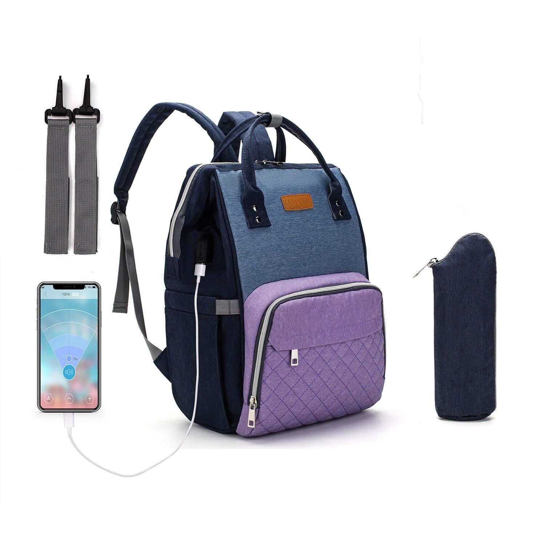 LEQUEEN USB Diaper Bag Baby Care Mummy Maternity Bag Large Storage Travel Waterproof Antifouling Backpack Stroller Bag Nappy Bag