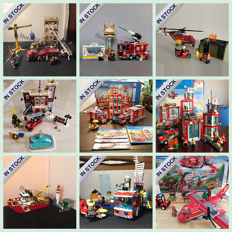 In stock New City series Fire Station building blocks bricks Toys 60107 60108 <font><b>60109</b></font> 60110 10263 60214 60217 60215 60216 42075 image
