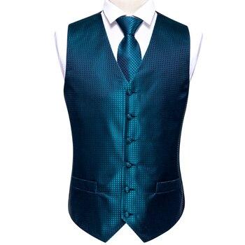 Designer Mens Classic Black Paisley Jacquard Folral Silk Waistcoat Vests Handkerchief Tie Vest Suit Pocket Square Set Barry.Wang 21