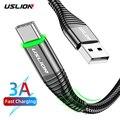 USLION 2 м Светодиодные 3A Type C кабель для Huawei P30 Pro Быстрая Зарядка телефона зарядный провод USB C кабель для Samsung Xiaomi Type C для передачи данных
