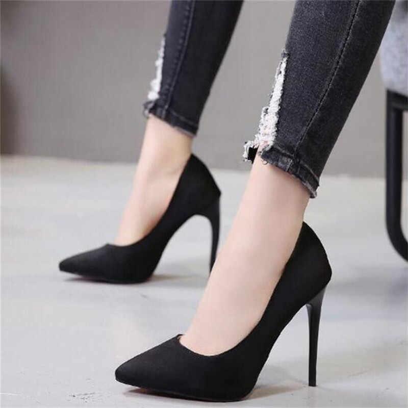 Artı boyutu 44 kadın ayakkabı pompaları kırmızı akın Slip-On sığ düğün parti sivri burun yüksek topuklu pompa Chaussures femme 2019