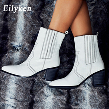 Eilyken Cossacks White Colors PU Leather Cowboy Ankle Boots Women High Heel Boot