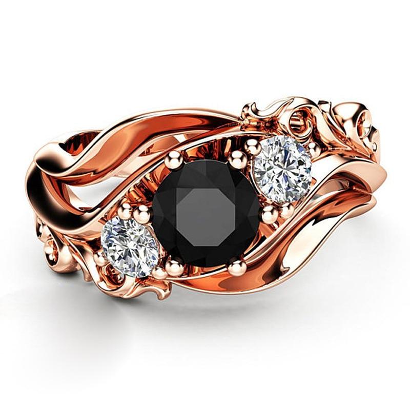 Huitan Witch Ring Unique Black Stone Prong Setting Twist Band Design Rose Gold Color Women Engagement Finger Rings Wholesale