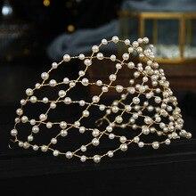 Vintage Baroque Gold Pearls Tiaras Headbands Handmade Bridal Wedding Hair Accessories Hairbands Hair Vines Women Hair Jewelry