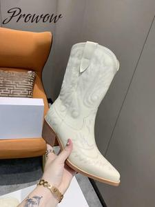 Prowow nowe oryginalne skórzane kwiatowe hafty kowbojki wsuwane na grubym obcasie buty zimowe