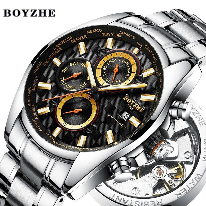 BOYZHE Мужские автоматические механические часы люксовый бренд водонепроницаемые часы мужские из нержавеющей стали золотые спортивные часы