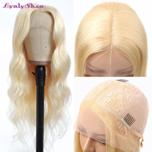 Hair Brazilian Lace-Front Body-Wave Middle-Part Pre-Plucked 613 Lynlyshan 13x4x1 Wig