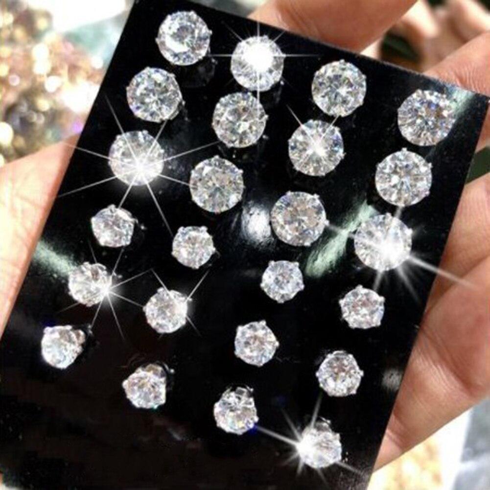 New 12 Pair/Pack White Shiny Wedding Stud Earrings Set For Women Men Crystal Jewelry Accessories Oorbellen Jewelry Earrings