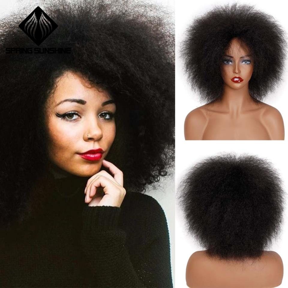 Preto para Mulheres Peruca Sintética Primavera Sunshine Polegada 100g Curta Afro Yaki Cabelo Liso Afroamericanas 6