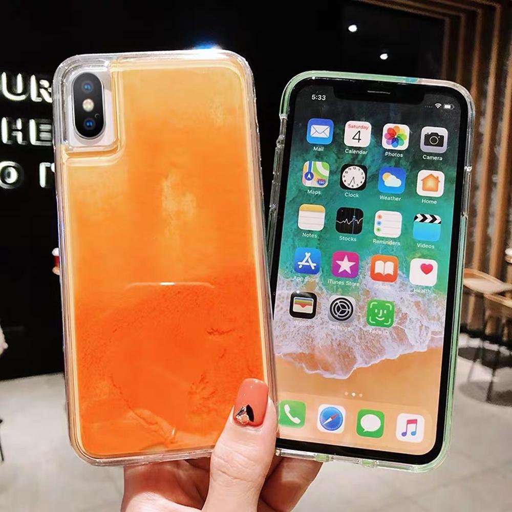 Electronics - New Fashion Noctilucent Dynamic Liquid Quicksand For iPhone 6 6S 7 8 Plus X XR XS Max Phone Cases Trend Luminous Case