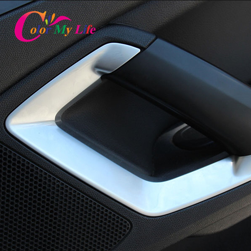 Inner Car Door <font><b>Armrest</b></font> Sequins Inner Door Handle Protection Cover Trim Sticker for <font><b>Peugeot</b></font> 308 308s <font><b>408</b></font> 4008 Accessories image