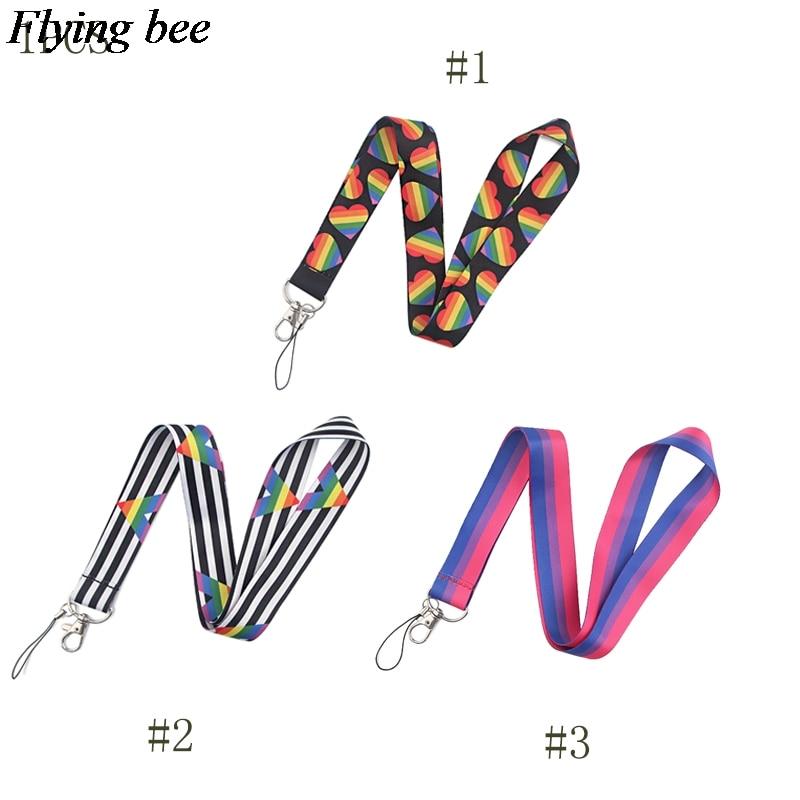 Flyingbee Love Stripes Lanyard Phone Rope Keychains Phone Lanyard For Keys ID Card  Lanyards For Women X0824
