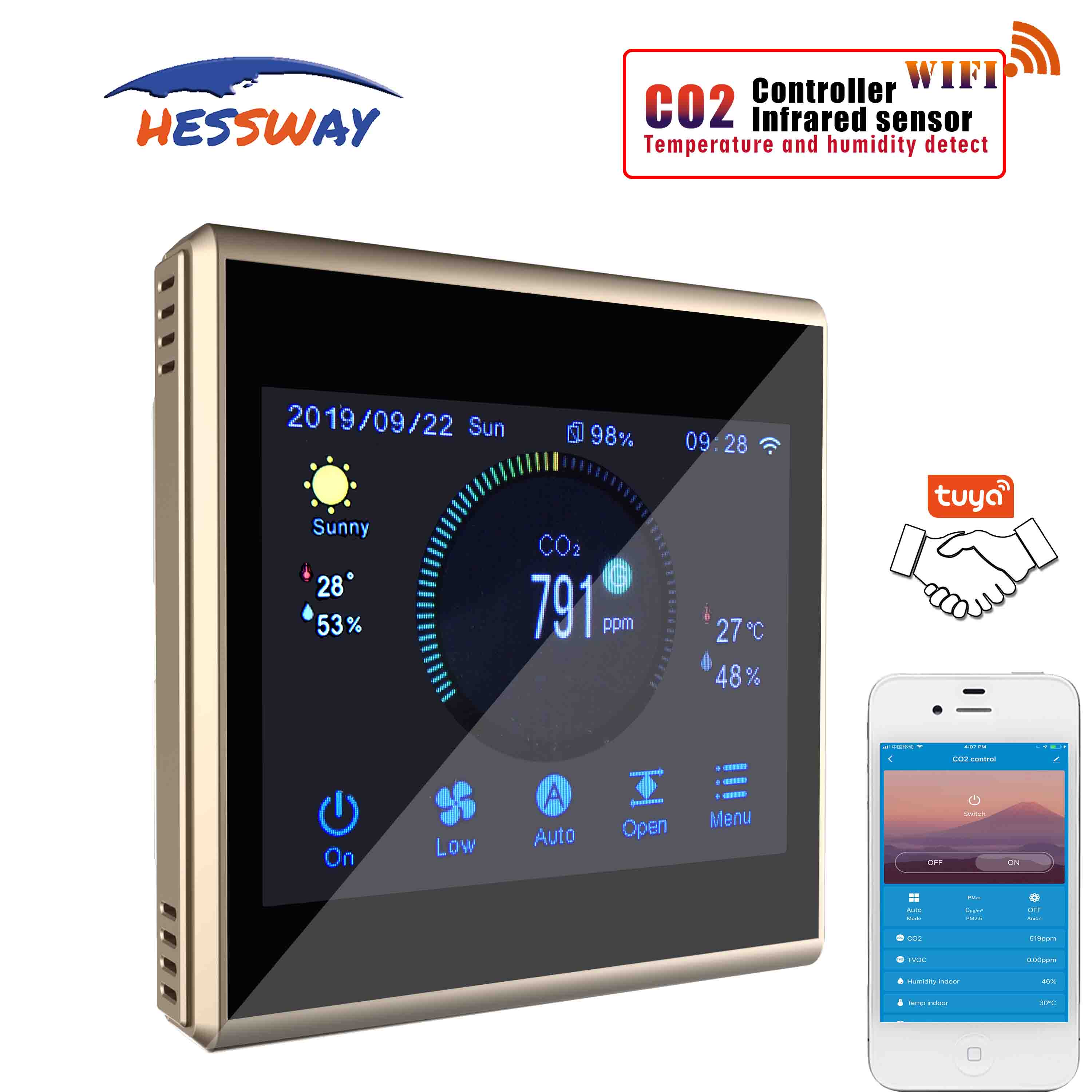 TUYA APP  Air Ventilation System Ndir Co2 Sensor Air Quality Monitor For Wifi Color Touch Screen