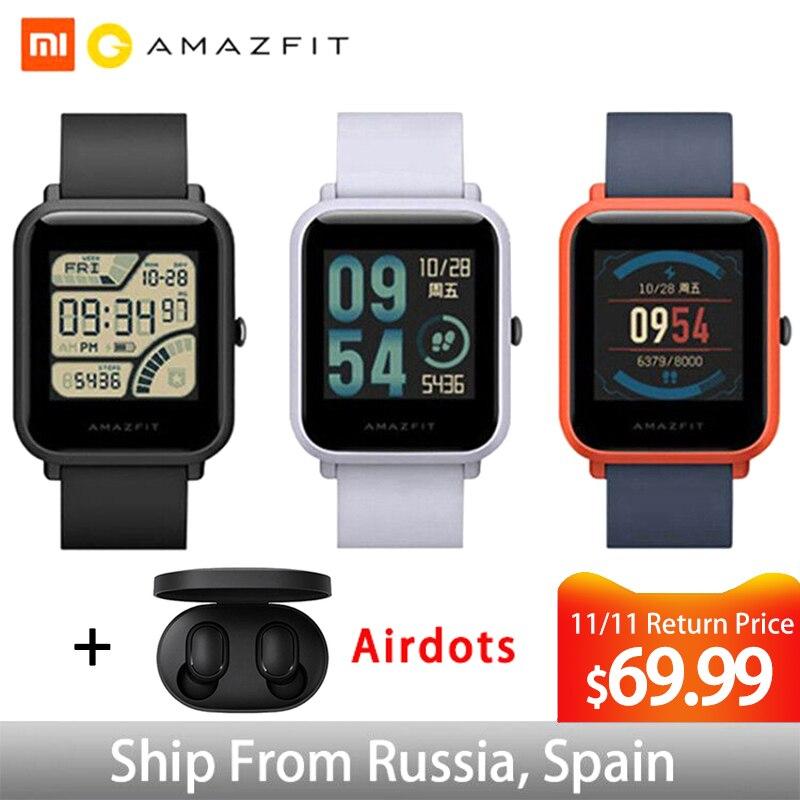 Global Versão Xiaomi Huami Amazônia Bip Smartwatch Relógio Inteligente Monitor De Freqüência Cardíaca GPS Gloness MI8 45 Dias de Espera para o Telefone IOS