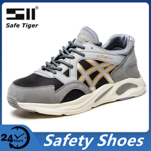 Mens Steel Toe Safety Shoes Lightweight Breathable Work Shoes for Men Anti-Smashing Non-Slip Construction Work Sneakers