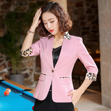 Ladies Black White Pink Yellow Short Jacket Spring Summer Woman Slim Fit Blazer for Women Three Quarter Sleeve Blazer Mujer 2020