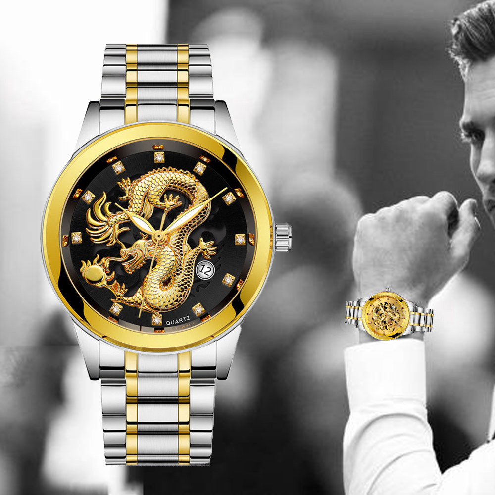 Waterproof Mens Gold Dragon Sculpture Quartz Watch Luxury Men Stainless Steel Band Watches