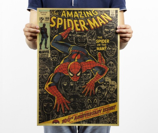 Amazing Spiderman Vintage Kraft Paper Classic Movie Poster Map Home School Office Decoration Wall Decor Art Retro Prints