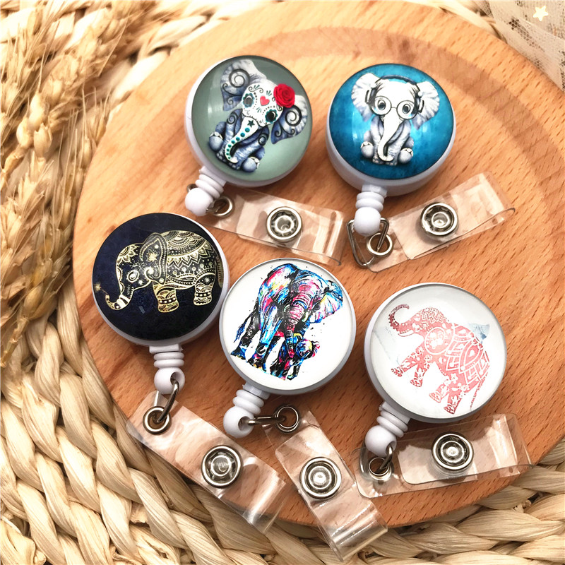 New High Quality Cute Elephant Retractable Doctor Nurse Badge Reel Cartoon Personality Students IC ID Card Badge Holder Clip
