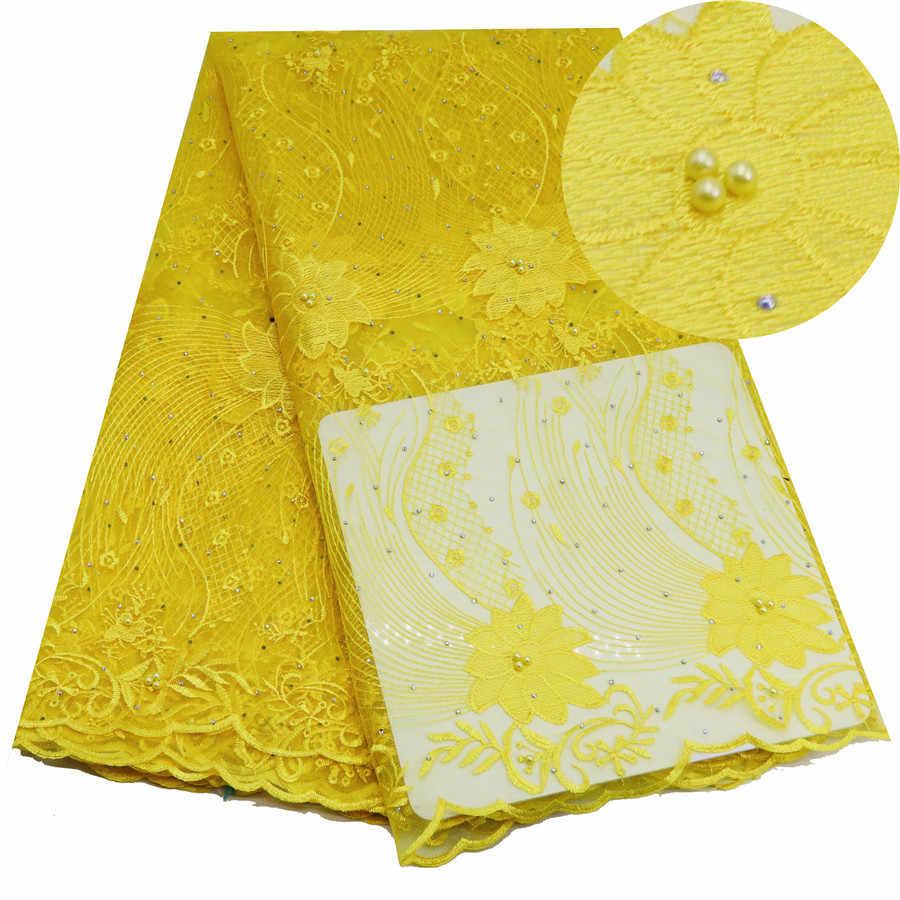 Fushcia Rosa Tecido de Renda Africano Nigeriano Tecidos Rendas Bordados Tulle Renda Francesa Para As Mulheres Se Vestem Pedras Amarelo Branco Azul
